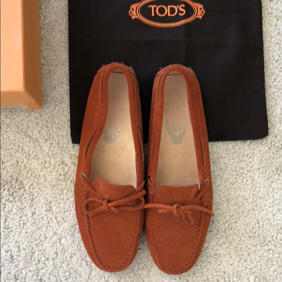 Tod s Shoes - Tod s Driving Mocs Loafers Flats 37 Suede Orange 2788140f528